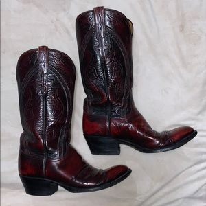 Lucchese Black Cherry Goat Leather Boots